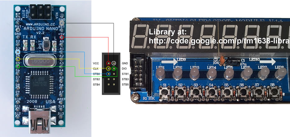 Figure displaying wiring arduino to TM1638 module